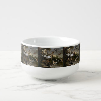 Flock of musical birds painting soup bowl with handle