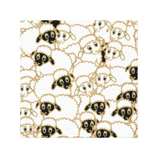 flock of sheep, black and white canvas prints