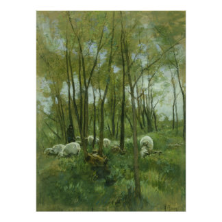 Flock of sheep in a forest, Anton Mauve Poster
