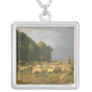 Flock of Sheep in a Landscape Silver Plated Necklace
