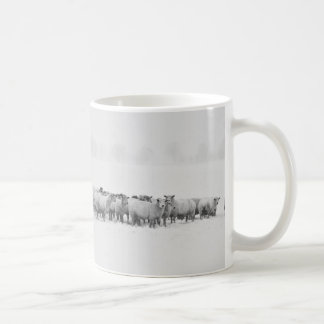 Flock of Sheep on a Snowy Day Panoramic Landscape Coffee Mug