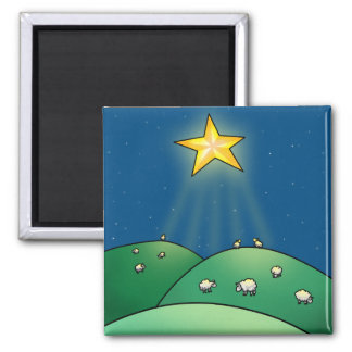 Flock of Sheep under Christmas Star Square Magnet