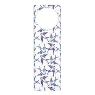 Flock of Sketched Birds Door Hanger