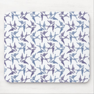 Flock of Sketched Birds Mouse Pad