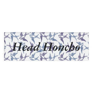 Flock of Sketched Birds Name Tag