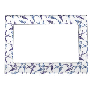 Flock of Sketched Birds Photo Frame Magnets