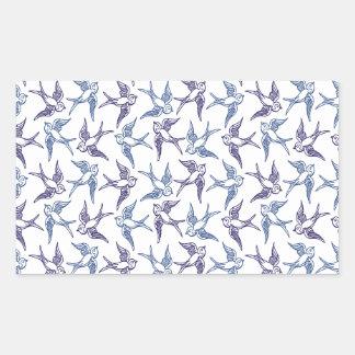Flock of Sketched Birds Rectangular Sticker