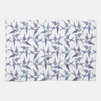 Flock of Sketched Birds Tea Towel