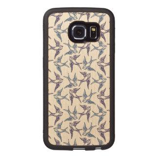 Flock of Sketched Birds Wood Phone Case