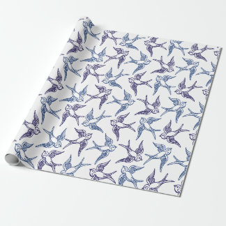 Flock of Sketched Birds Wrapping Paper