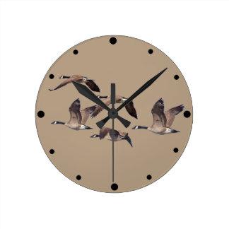 Flock of wild geese round clock