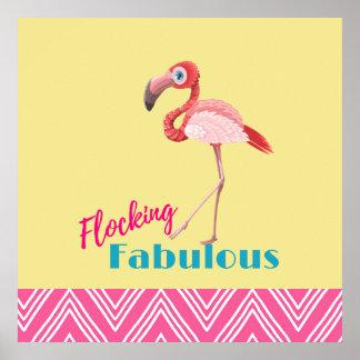 Flocking Fabulous Pun w/ Pink Flamingo Poster
