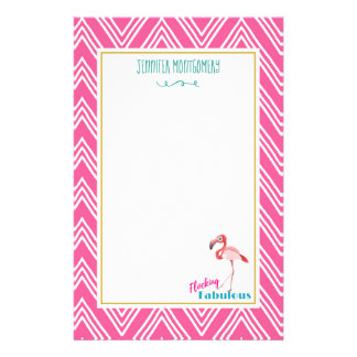 Flocking Fabulous Pun w/ Pink Flamingo Stationery