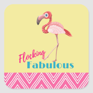 Flocking Fabulous Typography w/ Pink Flamingo Square Sticker