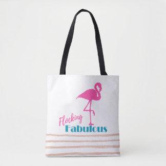 Flocking Fabulous Typography w/ Pink Flamingo Tote Bag