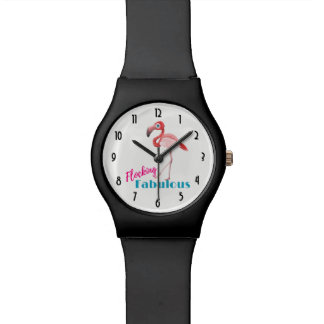 Flocking Fabulous Typography w/ Pink Flamingo Watch