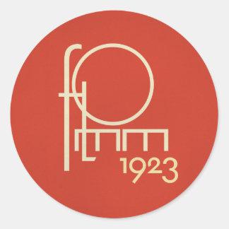 FLomm geotypograph 1923 Round Sticker