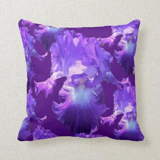 Flood of Purple Iris Flowers Throw Pillow