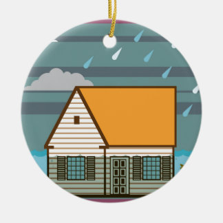 Flooded House Ceramic Ornament