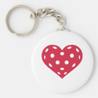 Floorball red heart basic round button key ring
