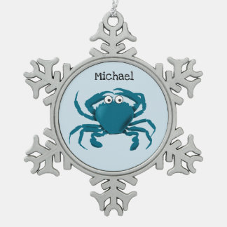 Flopping Fish Designs ™ Snowflake Pewter Christmas Ornament