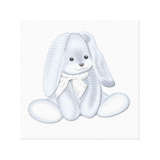 Floppy Baby Blue Plush Bunny Baby Canvas Art
