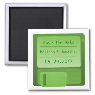 Floppy Disc Save the Date Magnet, Green Square Magnet
