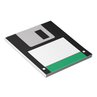 Floppy Disk (Black/Emerald Green) Notepad