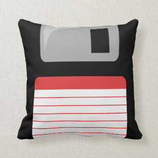 Floppy Disk Pillow - black, silver and red Cushion