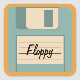 Floppy Disk Vintage Technology Personalized Square Sticker