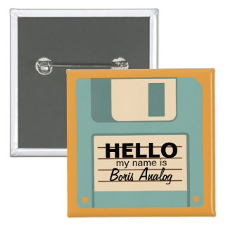 Floppy Diskette Personalized Name Badge