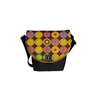 Flora circles pattern courier bags