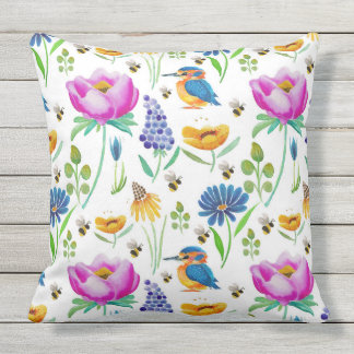 Flora & Fauna Watercolour Outdoor Cushion