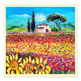 FLORA IN TUSCANY/ Fields ,Poppies and Sunflowers Personalized Invitation
