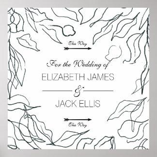 Flora Minimal Wedding Signage Arrows Right Poster