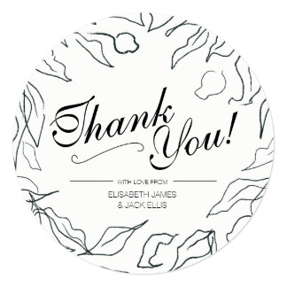 Flora Minimal Wedding 'Thank You' Card