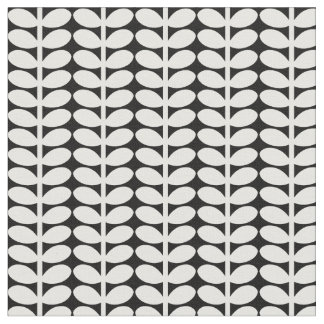 Flora Pattern, Retro Leaves, Black and White. Fabric