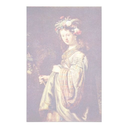 Flora (Portrait Of Saskia) As Flora By Rembrandt Personalized Stationery