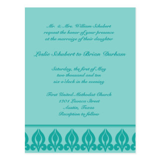 Flora Wedding Invitation-Teal/Teal Post Card