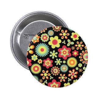 Floral 100113 6 cm round badge