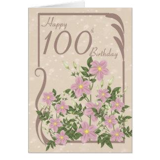 Floral 100th Birthday Greeting Card