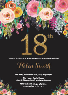 Floral 18th Birthday Invitation Gold Glitter
