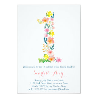 floral 1st birthday invites, pastel 1st birthday card
