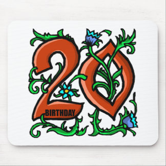 Floral 20th Birthday Gifts Mouse Pads