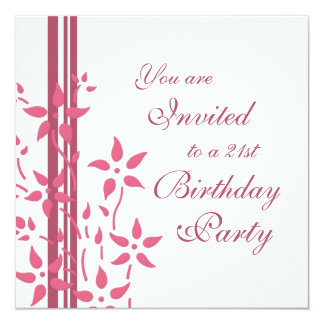 Floral 21st Birthday Party Invitations