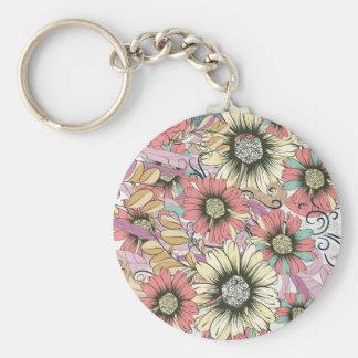 "Floral 2.25"" Basic Button Keychain"