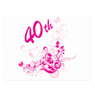 Floral 40th Birthday Gift Post Cards