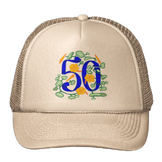 Floral 50th Birthday Gifts Mesh Hats