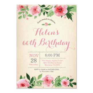 Floral 60th Birthday Invitation Pink Watercolor