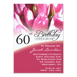 Floral 60th Birthday Party Invitations